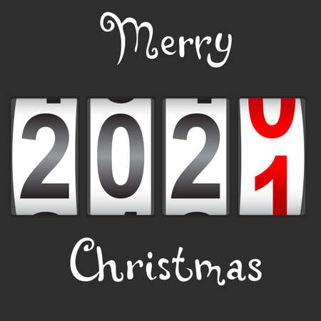 2021 New Year counter Christmas congratulation Black background.