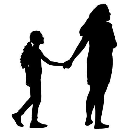 Silhouette of happy family on a white background. Ilustracja