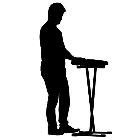 Silhouette musician plays the synthesizer on a white background.