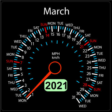 The 2021 year calendar speedometer a car March. Stock Illustratie