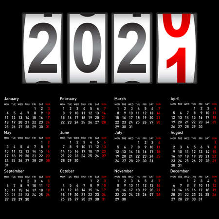 2021 New Year counter, change calendar illustration. Ilustracja