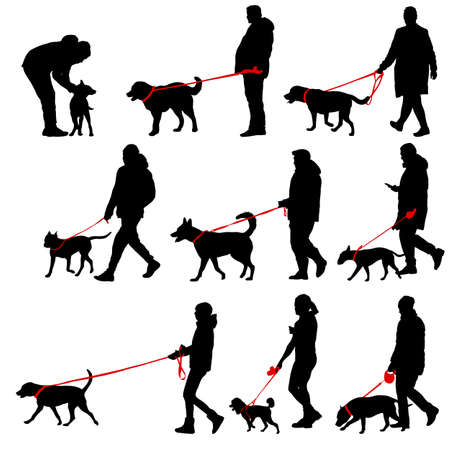 Set silhouette of people and dog on a white background. Ilustracja