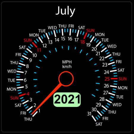 The 2021 year calendar speedometer a car July.