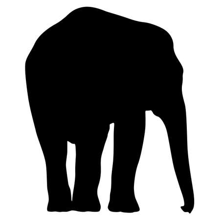 Silhouette large African elephant on a white background. Ilustracja