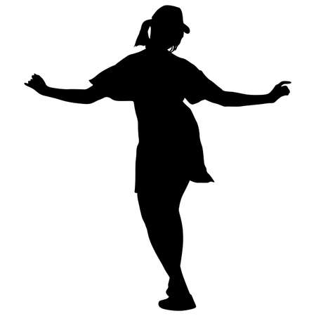Black silhouettes dancing woman on white background. Ilustracja