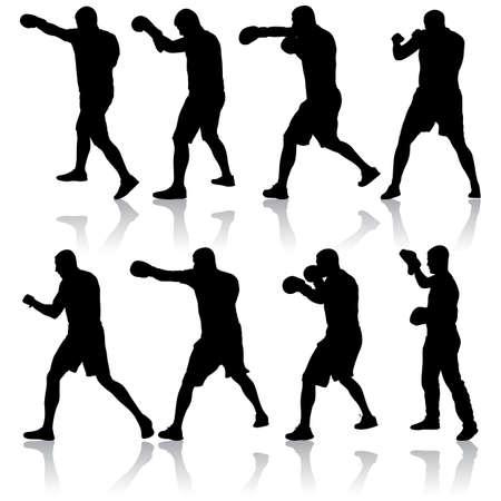 Black set silhouette of an athlete boxer on a white background. Ilustración de vector