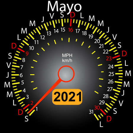 2021 year calendar speedometer car in Spanish May.