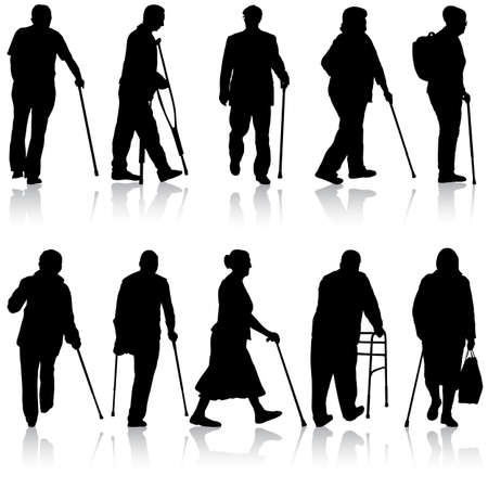 Set ilhouette of disabled people on a white background. Ilustracja
