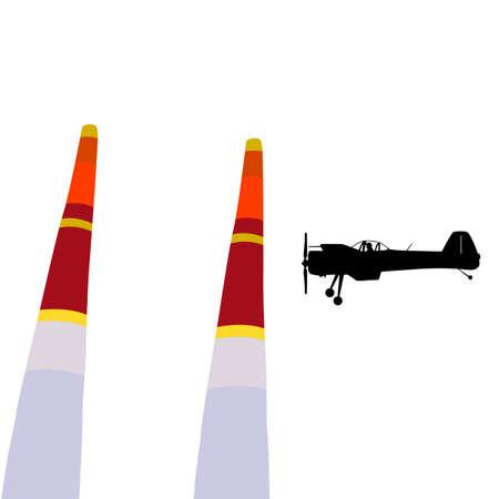 Aerobatic aircraft performs aerobatics on a white background.