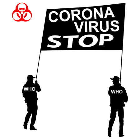 Stop coronavirus two carry a poster on a white background. Ilustracja