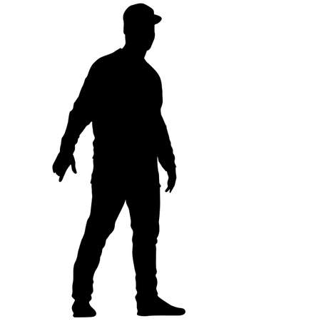 Black silhouette man standing, people on white background. Ilustracja