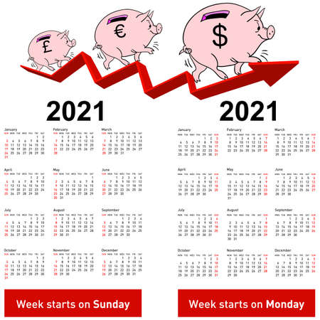 Stylish calendar Pig piggy bank for 2021 Sundays first
