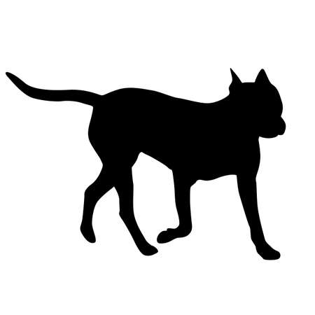 Dunker dog black silhouette on white background.