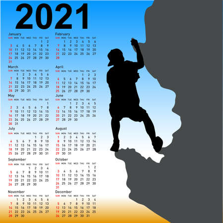 Stylish calendar with silhouette rock climber on against the blue sky for 2021.