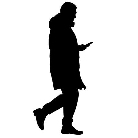 Silhouette of a walking man on a white background.