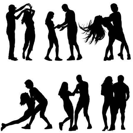 Black set silhouettes Dancing on white background. Vector illustration. Ilustracja