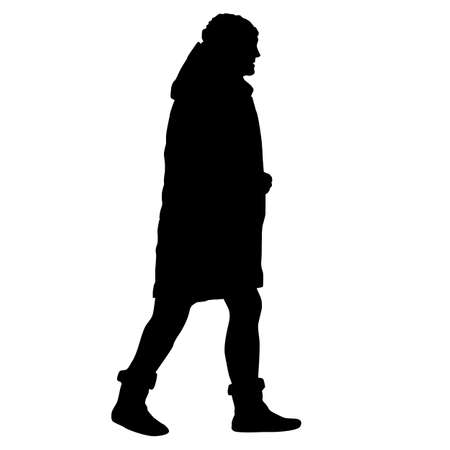 Silhouette of a walking girl on a white background. Ilustracja
