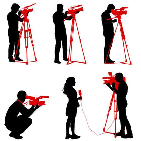 Set cameraman with video camera. Silhouettes on white background. Vektorové ilustrace