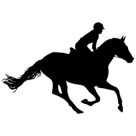 Silhouette of horse and jockey on white background. Векторная Иллюстрация