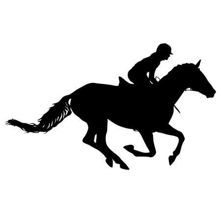 Silhouette of horse and jockey on white background. Vector Illustration