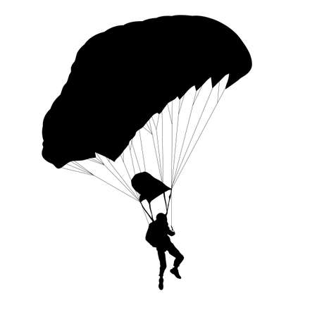 Skydiver, silhouettes parachuting on white background. Vecteurs