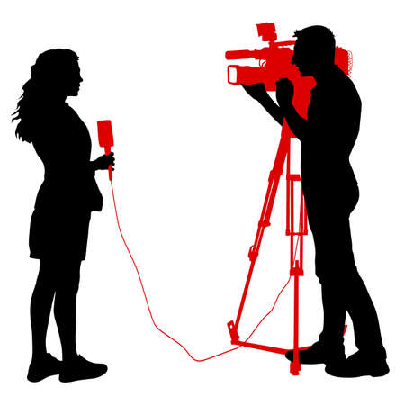 Silhouette operator removes journalist with microphone on a white background.