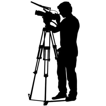 Cameraman with video camera. Silhouettes on white background. Vektorové ilustrace