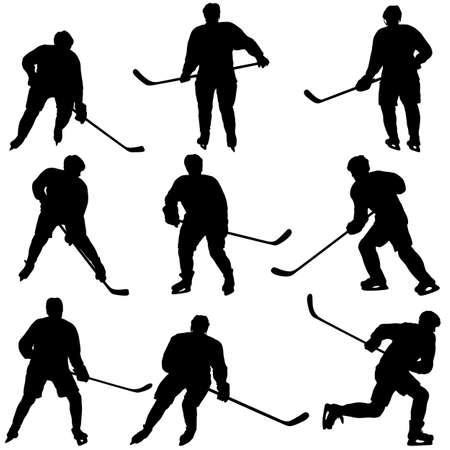 Set of silhouettes of hockey player on white background. Çizim