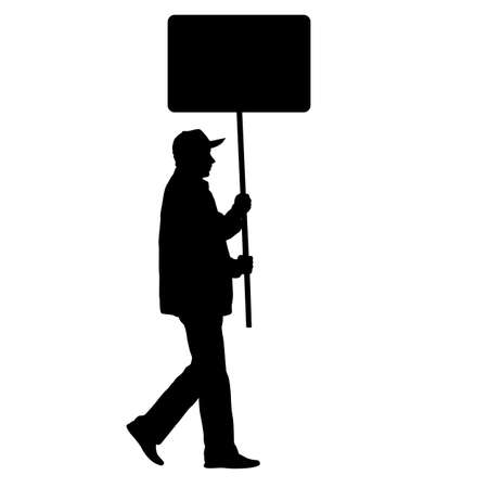 Black silhouettes of man with banner on white background.