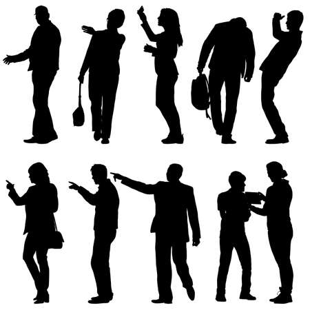 Silhouette Group of People Standing on White Background. Vektorové ilustrace