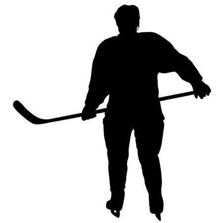 Silhouette of hockey player on white background.