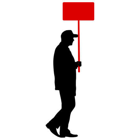 Black silhouettes of man with banner on white background. Vettoriali