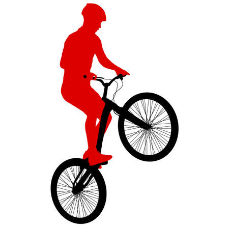 Silhouette of a sports cyclist on a white background. 矢量图像