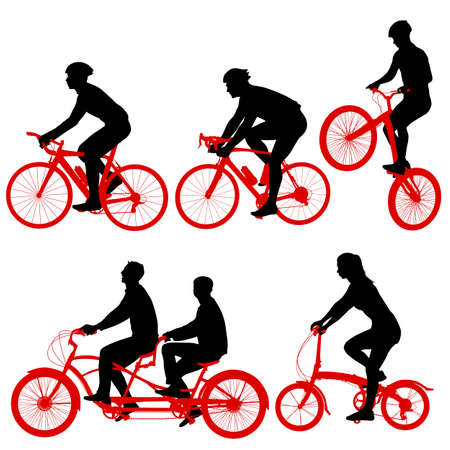 Set silhouette of a tandem cyclist on a white background.