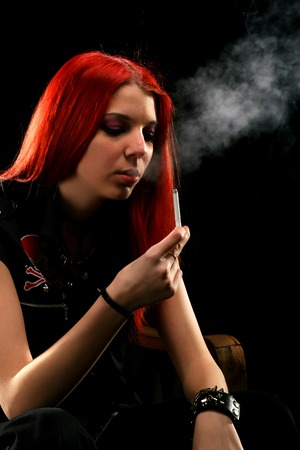 Beautiful girl smoking photo