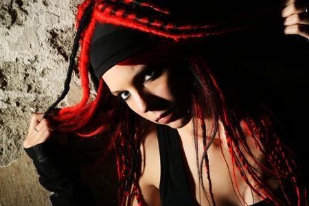 atractive: Portrait of an atractive young rocker girl