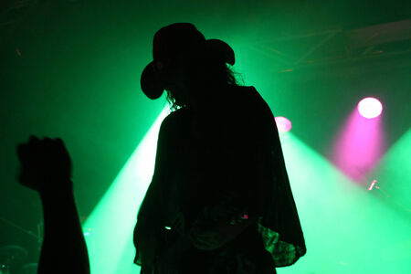 Silhouette of a guitarist on stage with a cowboy hat with fans fist in front of green reflector photo