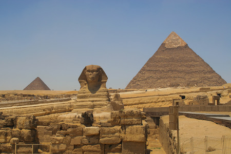chephren: The Sphinx and the pyramids of Khafre (Chephren) and Menkaur (Mycerinus) in Giza - Cairo, Egypt