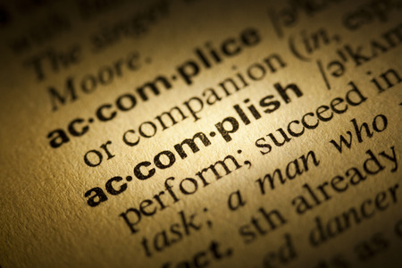 Word Accomplish in a dictionary