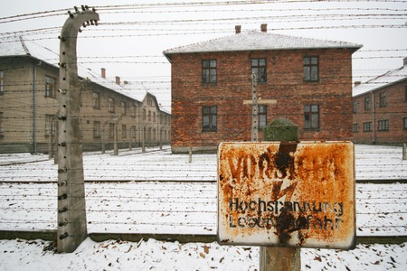 High voltage sign at a german WWII prisoner camp