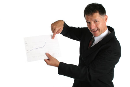 Worried boss showing bad results to his workers photo