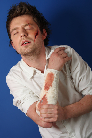 Man in great pain after in injury photo