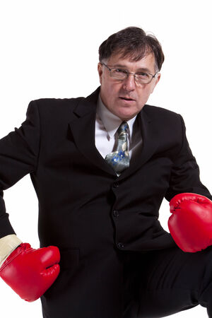 Business man fighting for his company Stock Photo - 27469965