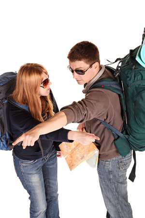 Couple on the backpacking vacations. photo