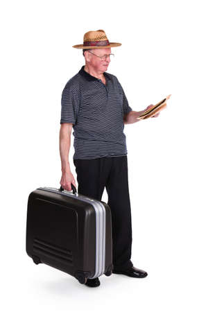 contemplated: Senior Man Holding Suitcase And Map Over White Background
