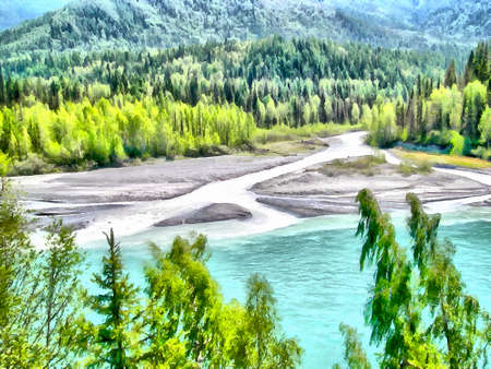 creek: Where no man has gone before, reserved land, Altai Mountains.Clean streams, creeks and rivers, tall, slender trees, plantation of medicinal herbs, fresh air and undisturbed, pristine nature. Illustration, watercolor Stock Photo