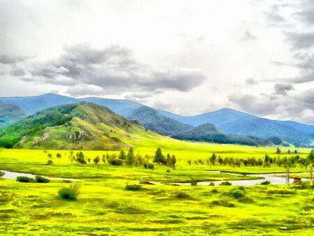 altai: Where no man has gone before; reserved land; Altai Mountains.; Clean streams; creeks and rivers; tall; slender trees; plantation of medicinal herbs; fresh air and undisturbed; pristine nature. Illustration; watercolor