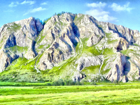 Where no man has gone before; reserved land; Altai Mountains.; Clean streams; creeks and rivers; tall; slender trees; plantation of medicinal herbs; fresh air and undisturbed; pristine nature. Illustration; watercolor