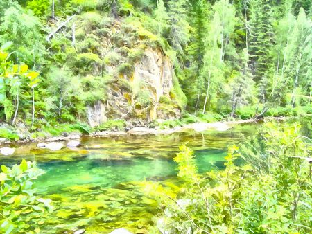 undisturbed: Altai Mountains .; Clean streams; creeks and rivers; tall; slender trees; plantation of medicinal herbs; fresh air and undisturbed; pristine nature. Illustration; watercolor