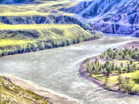 summer nature: Where no man has gone before; reserved land; Altai Mountains.; Clean streams; creeks and rivers; tall; slender trees; plantation of medicinal herbs; fresh air and undisturbed; pristine nature. Illustration; watercolor